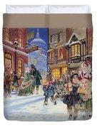 Dickensian Christmas Scene Duvet Cover