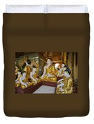 different sitting Buddhas in a circle in SHWEDAGON PAGODA Duvet Cover