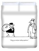 Digibuy A Robber With A $ Bag Speaks To A Police Duvet Cover by Charles Barsotti