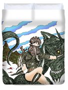 Digital Dragon Rider Colour Version Duvet Cover