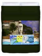 Digital Oil Painting - Statue Of The Merlion With A Banner Duvet Cover