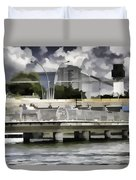 Digital Oil Painting - Visitors On Viewing Plaza On Singapore River Next To The Merlion Duvet Cover