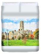 Digital Painting Of University Hall Duvet Cover