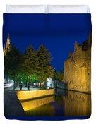 Dijver Canal At Night  Duvet Cover