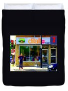 Dilallo Burger Notre Dame Ouest And Charlevoix  Montreal Art Urban Street Scenes Carole Spandau Duvet Cover