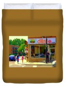 Dilallo Notre Dame Ouest And Charlevoix Sunny Street Montreal Urban City Scene Carole Spandau Duvet Cover