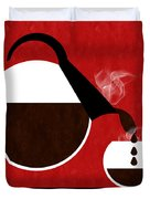 Diner Coffee Pot And Cup Red Pouring Duvet Cover