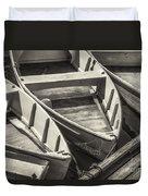 Dinghies Dockside Bw Duvet Cover