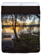 Dinghies On Shoreline Duvet Cover