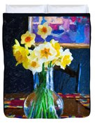 Dining With Daffodils Duvet Cover by Jo-Anne Gazo-McKim