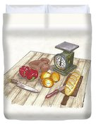 Weighing Dinner Preparation Supper Duvet Cover