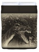 Dino's At The Zoo Come Here Cameraman In Heirloom Finish Duvet Cover