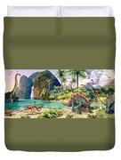 Dinosaur Volcanos Duvet Cover