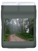 Dirt Path In Forest Woods With Mist Duvet Cover