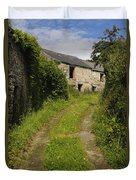 Dirt Path To Stone Building Duvet Cover