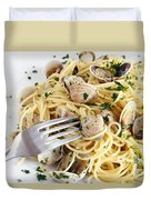 Dish Of Spaghetti With Clams Duvet Cover