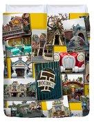 Disneyland Toontown Yellow Collage Duvet Cover