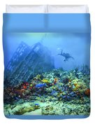 Diver At The Wreck Duvet Cover