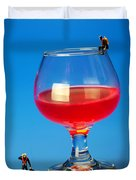 Diving In Red Wine Little People Big Worlds Duvet Cover