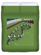 Dna String Of Soccer Player On The Field Of Stadium Duvet Cover