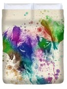 Doberman Splash Duvet Cover by Aged Pixel