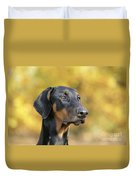 Dobermann Dog, In Autumn Duvet Cover