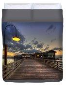 Dock Lights At Jekyll Island Duvet Cover by Debra and Dave Vanderlaan