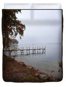 Dock On A Lake In Autumn Duvet Cover