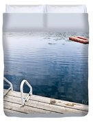 Dock On Calm Summer Lake Duvet Cover