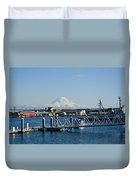 Dock View Of Mt. Rainier Duvet Cover