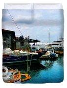 Docked Boats In Newport Ri Duvet Cover