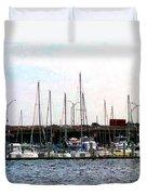 Docked Boats Norfolk Va Duvet Cover
