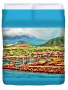 Docked In St. Kitts Duvet Cover