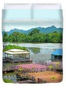 Docking Area On River Kwai In Kanchanaburi-thailand Duvet Cover
