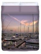 Dockside Sunset In Beaufort South Carolina Duvet Cover by Reid Callaway