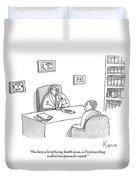 Doctor Speaks To Patient Over Desk Duvet Cover by Zachary Kanin