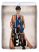 Doctor Who Inspired Tenth Doctor's Typographic Artwork Duvet Cover
