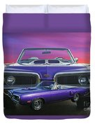 Dodge Rt Double Exposure Purple Sunset Duvet Cover