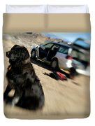 Dog In Front Of A Climbers Car Duvet Cover