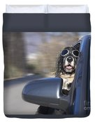 Dog In The Car Window Duvet Cover
