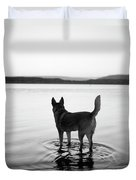 Dog Looking Over Abiquiu Reservior Duvet Cover