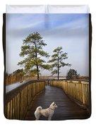 Shiba Inu On Path Duvet Cover