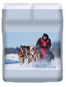 Dog Sledding Race Duvet Cover