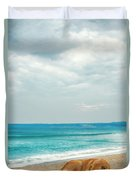 Dog Sleeping On Beach Duvet Cover