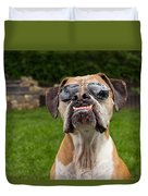 Dog Wearing Sunglass Duvet Cover by Stephanie McDowell
