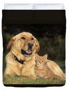 Dog With Kitten Duvet Cover