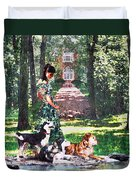 Dogs Lay At Her Feet Duvet Cover