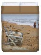 Dogs On The Beach Duvet Cover