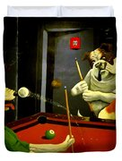 Dogs Playing Pool Wall Art Unknown Painter Duvet Cover