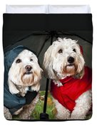 Dogs Under Umbrella Duvet Cover by Elena Elisseeva